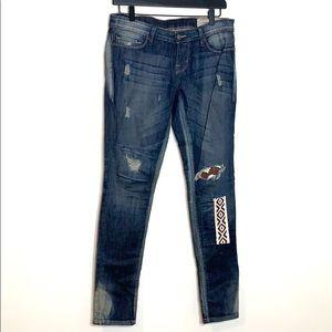 Free People Artisan De Luxe Distressed Jeans